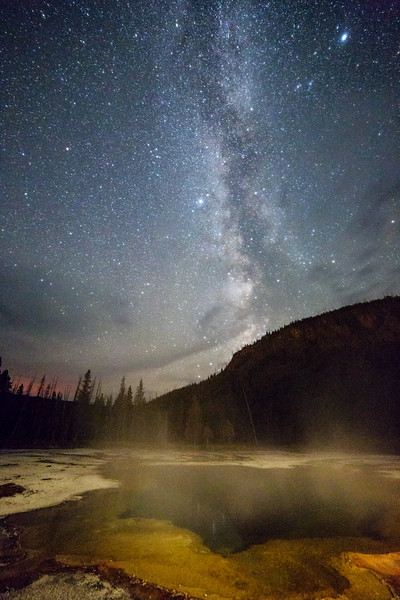 Milky Way Over Geyser Pool