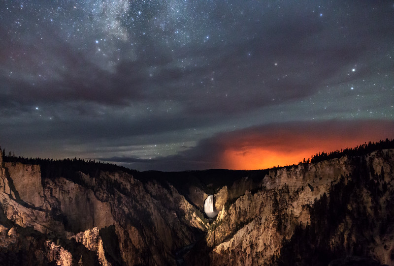 Fire and Stars Over the Grand Canyon of the Yellowstone