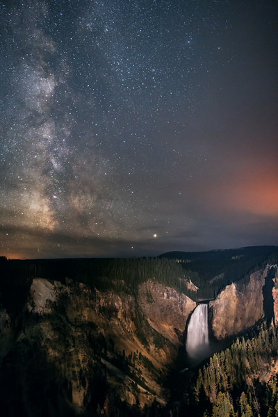 Milky Way Over Lower Falls at Grand Canyon of the Yellowstone