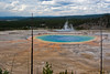 A view of Grand Prismatic Spring and the boardwalk of Midway geyser basin from the top of the hill on the hike to Fairy falls. The trail is not marked but well traveled.