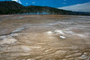 The runoff from Grand Prismatic spring has created numerous tiny terraces.