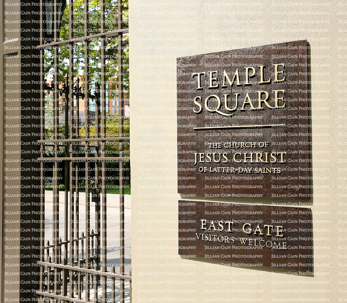 The entrance sign to Temple Square East Gate. Temple Square is a 10 acre complex, owned by The Church of Jesus Christ of Latter-day Saints located in Salt Lake City, Utah.