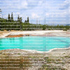 Beautiful turquoise Abyss Pool, a hot spring in the West Thumb Geyser Basin of Yellowstone National Park in the United States.