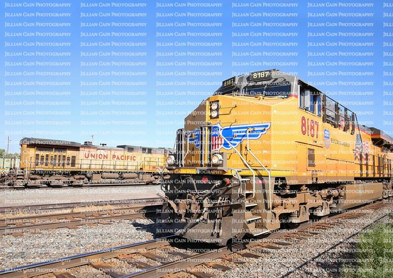 Union Pacific 8187 pulls into the Laramie Depot.  The Union Pacific is a  freight hauling railroad that operates 8,500 locomotives in 23 states.