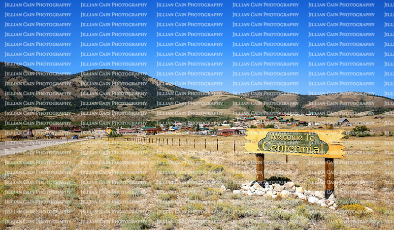 Welcome to Centennial, sign greets visitors to Centennial, Wyoming a small town and the gateway to the beautiful Snowy Range Mountains.