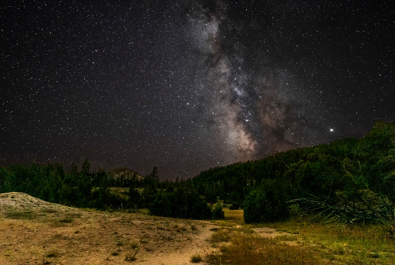 Milky Way and Jupiter Over Mammoth Highlands
