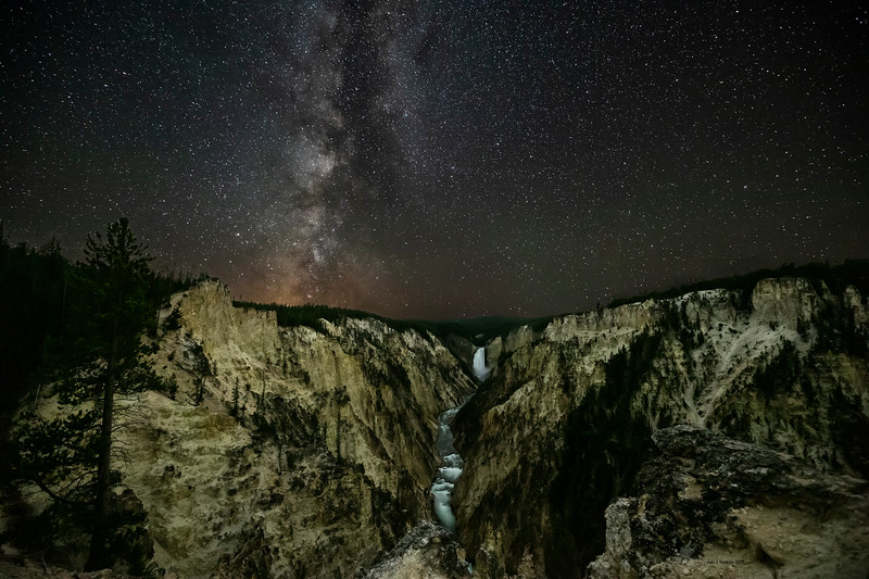 Milky Way Over the Lower Falls and Grand Canyon of the Yellowstone