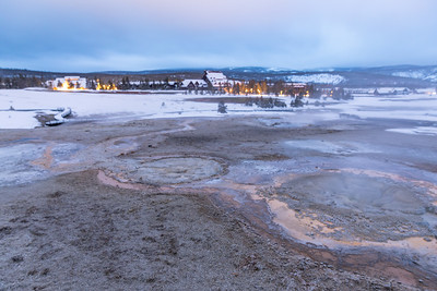 The lodges at old faithful are quite a sight in the early morning light