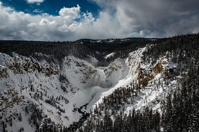 The frozen Canyon Falls of the Yellowstone River