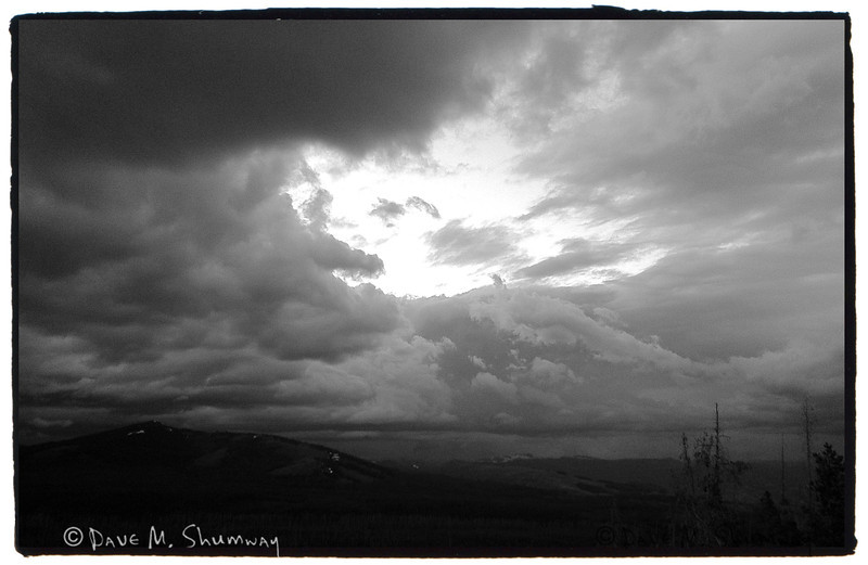 A storm rolls in at sunset, as seen from atop Dunraven Pass.<br /> iPhone Snap