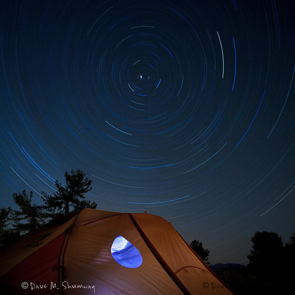 Star Trails Over a Marmot<br /> Two hour, one minute, and one-second start trail photograph over my tent. Single, uninterrupted, exposure.