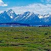 The Grand Teton (tallest peak in photo, left of center) in the Teton Range, Grand Teton National Park