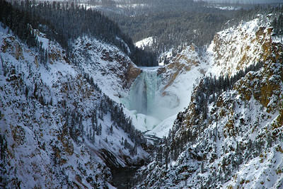 Partially frozen cascade at Grand Canyon of Yellowstone
