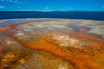 Outflow from the Black Pool into Yellowstone Lake at West Thumb Geyser Basin.  June 30, 2014.