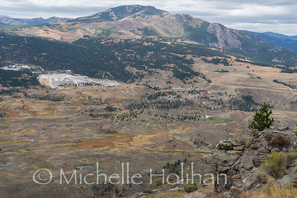 View over Mammoth Hot Springs from Mt. Everts