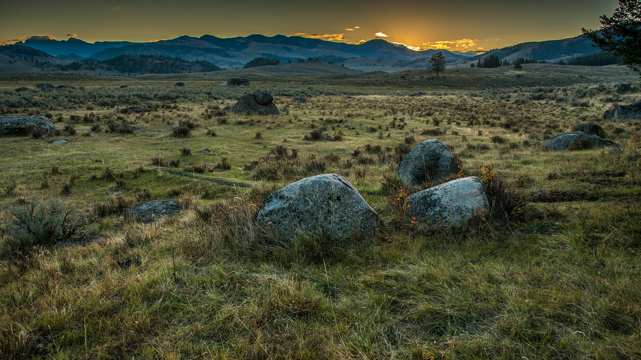 Sunrise in Lamar Valley in Yellowstone National Park