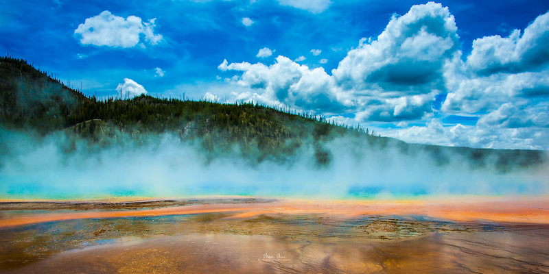Grand Prismatic hot spring, June 26, 2014.  I recommend purchasing this as a panorama print with an aspect ratio of 1:2 or 1:3.