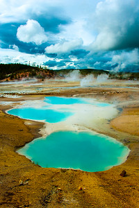 Part of the Porcelain Basin at Norris Geyser Basin, Yellowstone.  June 27, 2014.