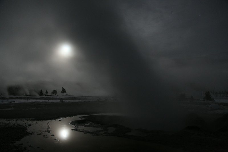 Geysers at night