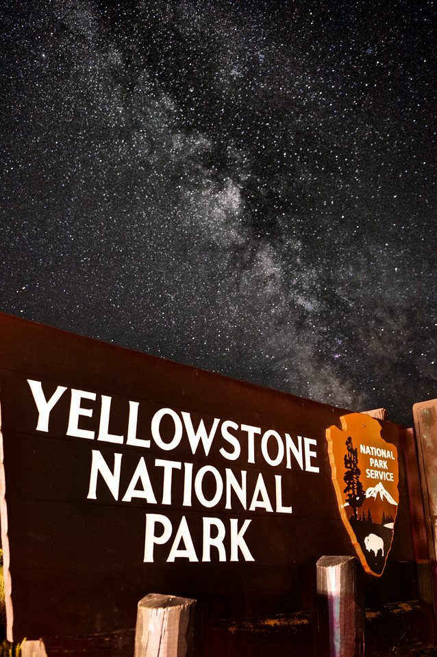"'Open All Night! '     __Yellowstone NP Sign &  Milky Way    _0575N<br /> <br /> <br /> The Milky Way above Wonderland<br /> ......................................................................................................................................................... 100% profit of this print will go to the Bozeman Warming Center. The Warming Center is a seasonal shelter offering an alternative to the cold Montana winters, offering shelter to anyone in need. Families with children, youth, single adults and couples.  Every purchase provides warmth. ~~~ Thank-you. ......................................................................................................................................................... Created in partnership with the Greater Gallatin Homeless Action Coalition the Warming Center is a part of the HRDC's Housing First Program -- part of the community since 2010. ......................................................................................................................................................... <a href=""http://www.thehrdc.org/how-we-help/housing/emergency-shelter/"">http://www.thehrdc.org/how-we-help/housing/emergency-shelter/</a><br /> .<br /> .<br /> Fused directly onto a specially treated, rigid piece of Aluminum the Float-Mounted MetalPrint™ is more archival and lighter than a framed paper print.  It arrives ready to hang and will appear to float 3/4"" from your wall.<br /> <br /> <br /> ------- Contact us for more information -------<br /> moreinfo@RobertHowellPhotography.com"