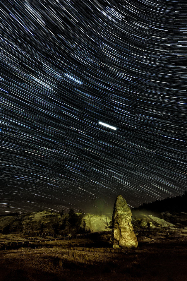 "Diverging Star Trails over Liberty Cap<br /> <br /> This unique image is fused directly onto a specially treated, rigid piece of Aluminum.<br /> More archival and lighter than a framed paper print, it arrives ready to hang.<br /> The Float-Mounted MetalPrint™ needs no frame and<br /> will appear to float 3/4"" from your wall.<br /> <br /> Archival paper prints are also available<br /> ------- Contact us for more information -------<br /> moreinfo@RobertHowellPhotography.com"