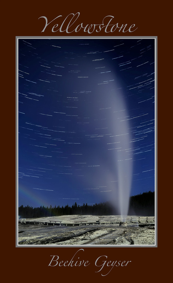 "Moonbow and Startrails with border     ____ 9618p67Lvb<br /> <br /> Rare lunar rainbow ""Moonbow"" seen in the steam of Yellowstone's Beehive Geyser.<br /> Long exposure captures the star trails as they move throughout the night.<br /> <br /> Beehive Geyser's eruptions are dramatic and hard to predict because the time between eruptions is so erratic.<br /> <br /> Eruptions typically last about five minutes, with water and steam shooting up to 200 feet into the air. <br /> <br /> Any image may be ordered with a custom border and custom caption of your own choosing<br /> along with a printed 'Robert Howell' signature.<br /> <br /> This unique image is fused directly onto a specially treated, rigid piece of Aluminum.<br /> More archival and lighter than a framed paper print, it arrives ready to hang.<br /> The Float-Mounted MetalPrint™ needs no frame and<br /> will appear to float 3/4"" from your wall.<br /> <br /> Archival paper prints are also available<br /> ------- Contact us for more information -------<br /> moreinfo@RobertHowellPhotography.com"