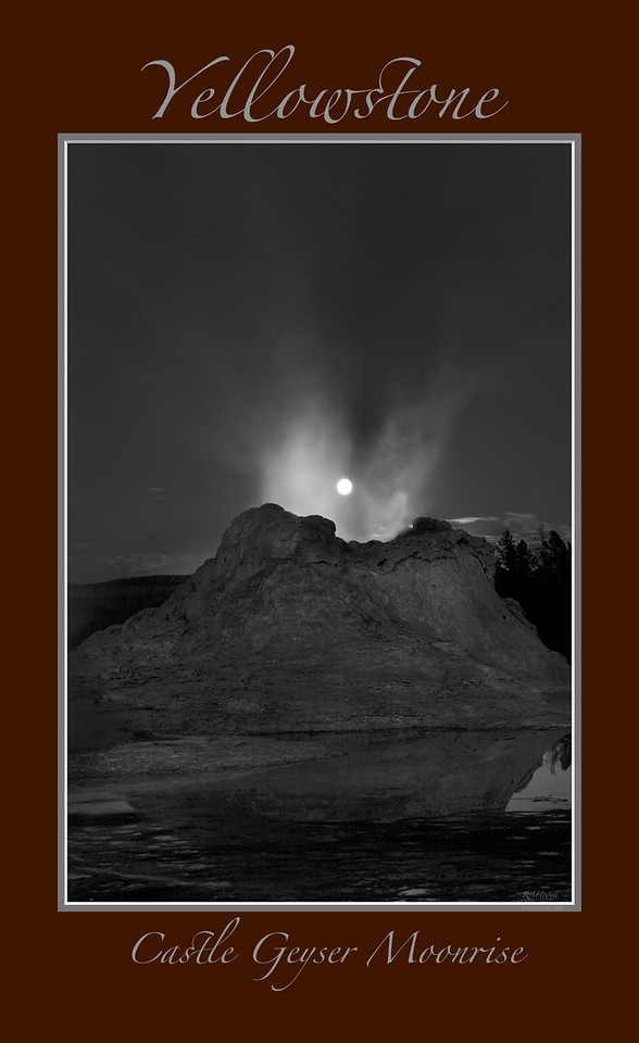 "' Castle Geyser Moonrise '<br /> <br /> Any image may be ordered with a custom border and custom caption of your own choosing<br /> along with a printed 'Robert Howell' signature.<br /> <br /> This unique image is fused directly onto a specially treated, rigid piece of Aluminum.<br /> More archival and lighter than a framed paper print, it arrives ready to hang.<br /> The Float-Mounted MetalPrint™ needs no frame and<br /> will appear to float 3/4"" from your wall.<br /> <br /> Archival paper prints are also available<br /> ------- Contact us for more information -------<br /> moreinfo@RobertHowellPhotography.com"