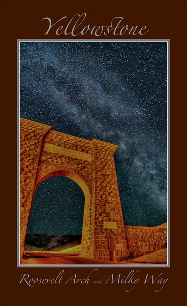 "The Milky Way Galaxy over Roosevelt Arch<br /> <br /> Any image may be ordered with a custom border and custom caption of your own choosing<br /> along with a printed 'Robert Howell' signature.<br /> <br /> This unique image is fused directly onto a specially treated, rigid piece of Aluminum.<br /> More archival and lighter than a framed paper print, it arrives ready to hang.<br /> The Float-Mounted MetalPrint™ needs no frame and<br /> will appear to float 3/4"" from your wall.<br /> <br /> Archival paper prints are also available<br /> ------- Contact us for more information -------<br /> moreinfo@RobertHowellPhotography.com"