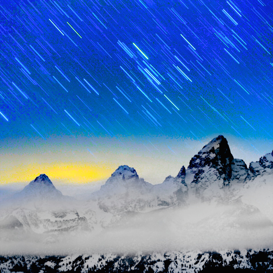 """ Tetons Peek ""     ____ 8268Ls<br /> <br /> The Grand Tetons peek through the clouds<br /> after the sun sets and the stars appear<br /> <br /> <br /> This unique image is fused directly onto a specially treated, rigid piece of Aluminum.<br /> More archival and lighter than a framed paper print, it arrives ready to hang.<br /> The Float-Mounted MetalPrint™ needs no frame and<br /> will appear to float 3/4"" from your wall.<br /> <br /> Archival paper prints are also available<br /> ------- Contact us for more information -------<br /> moreinfo@RobertHowellPhotography.com"