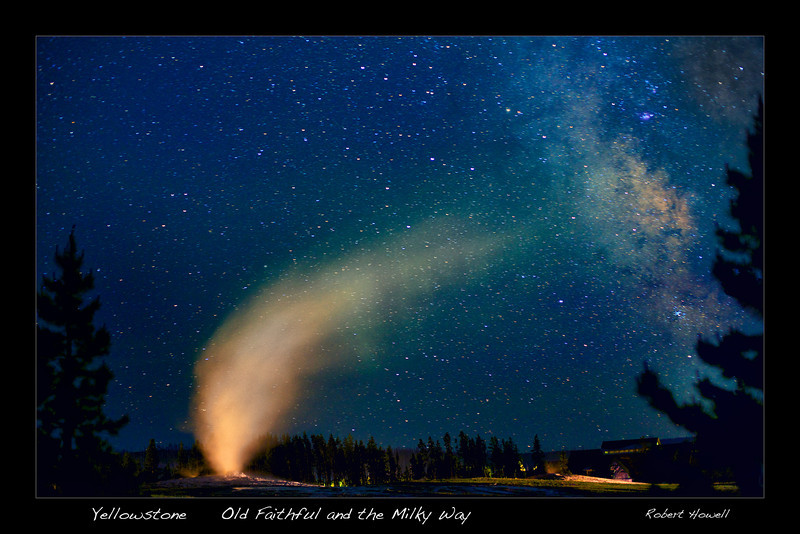 """ Dancing with the Stars ""  with Caption  on black border ____   6232Lbb  <br /> <br /> Old Faithful dances with the Milky Way every night as visitors sleep in the Old Faithful Inn<br /> <br /> Any image may be ordered with a custom border and custom caption of your own choosing<br /> along with a printed 'Robert Howell' signature.<br /> <br /> This unique image is fused directly onto a specially treated, rigid piece of Aluminum.<br /> More archival and lighter than a framed paper print, it arrives ready to hang.<br /> The Float-Mounted MetalPrint™ needs no frame and<br /> will appear to float 3/4"" from your wall.<br /> <br /> Archival paper prints are also available<br /> ------- Contact us for more information -------<br /> moreinfo@RobertHowellPhotography.com"