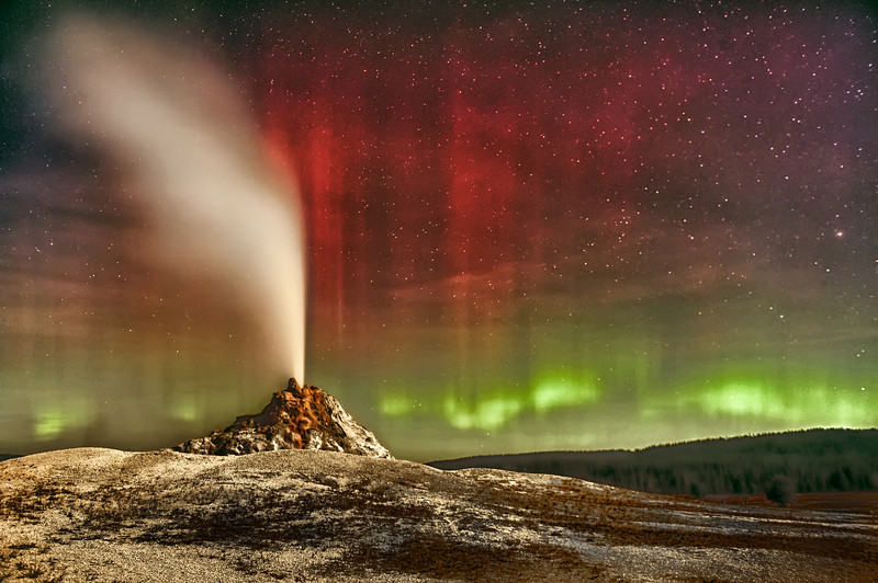 """ Aurora & Geyser "" ____ 453471Lh <br /> One of the rarest of Yellowstone scenes, an Aurora appears<br /> as a rising full moon spotlighted the erupting White Dome Geyser.<br /> <br /> ""It is rare but not unusual for the Northern Lights to be seen at this latitude.<br /> Occurring as the full moon rose and the geyser erupted just added to the splendid display.""     <br />                             ~  Astronomy Picture of the Day (APOD), the Astrophysics Sciences Division of NASA<br /> <br />  A TIME magazine selection for their school publication 'TIME for Kids' in Japan and the US.<br /> <br />  Available in a variety of sizes and distinctly beautiful at 12""x24"" on Metal.<br /> <br /> This unique image is fused directly onto a specially treated, rigid piece of Aluminum.<br /> More archival and lighter than a framed paper print, it arrives ready to hang. <br /> The Float-Mounted MetalPrint™ needs no frame and <br /> will appear to float 3/4"" from your wall.<br /> <br />  <br /> ------- Contact us for more information ------- <br /> moreinfo@RobertHowellPhotography.com"