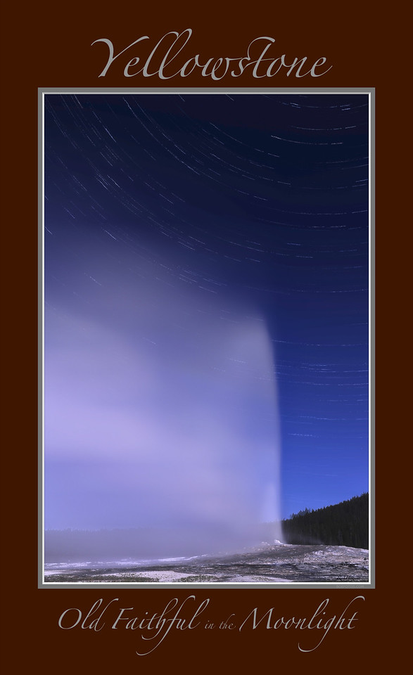 "Old Faithful Geyser and in the Moonlight<br /> <br /> Any image may be ordered with a custom border and custom caption of your own choosing<br /> along with a printed 'Robert Howell' signature.<br /> <br /> This unique image is fused directly onto a specially treated, rigid piece of Aluminum.<br /> More archival and lighter than a framed paper print, it arrives ready to hang.<br /> The Float-Mounted MetalPrint™ needs no frame and<br /> will appear to float 3/4"" from your wall.<br /> <br /> Archival paper prints are also available<br /> ------- Contact us for more information -------<br /> moreinfo@RobertHowellPhotography.com"