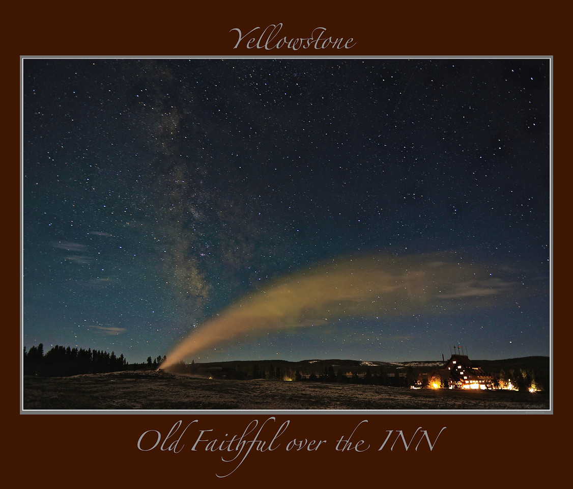 "Any image may be ordered with a custom border with a caption<br /> along with a printed 'Robert Howell' signature.<br /> <br /> "" 3 Old Friends ""     ____ #4808Lhb<br /> <br /> Milky Way & Old Faithful above their old friend, the Inn.<br /> <br /> The Milky Way is about 13.7 billion years old<br /> Old Faithful started erupting in the 1700's<br /> Old Faithful Inn moved into the neighborhood in 1904<br /> <br /> Any image may be ordered with a custom border and custom caption of your own choosing<br /> along with a printed 'Robert Howell' signature.<br /> <br /> This unique image is fused directly onto a specially treated, rigid piece of Aluminum.<br /> More archival and lighter than a framed paper print, it arrives ready to hang.<br /> The Float-Mounted MetalPrint™ needs no frame and<br /> will appear to float 3/4"" from your wall.<br /> <br /> Archival paper prints are also available<br /> ------- Contact us for more information -------<br /> moreinfo@RobertHowellPhotography.com"