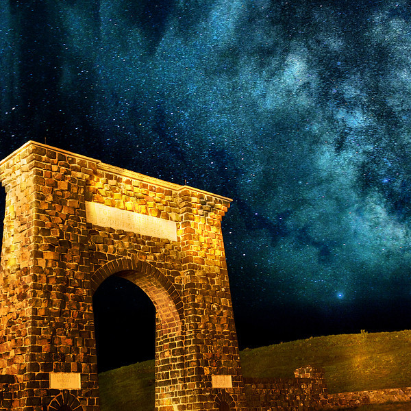 "' Star Gate ' ""Open All Night ""  ___ 72613Ms  SQUARE<br />   Roosevelt Arch / North Entrance of Yellowstone <br />            <br /> U.S. President Teddy Roosevelt laid the cornerstone on April 24, 1903.  Inscribed at<br /> the top of the arch are the words: ""For the Benefit and Enjoyment of the People.""  <br /> <br /> The grand 50 foot tall arch faced toward the train depot so passengers would look up at it upon arrival.  Then, at the turn of the century, gas lamps and torches would have cast a supernatural glow upon the arch.  And still today, the night sky adds to the majesty of the gateway beckoning visitors to enter what the Northern Pacific Railway's advertising campaign promoted as, ""Wonderland""… 	<br />   <br />      <br /> <br /> 	<br /> This unique image is fused directly onto a specially treated, rigid piece of Aluminum.<br /> More archival and lighter than a framed paper print, it arrives ready to hang.<br /> The Float-Mounted MetalPrint™ needs no frame and<br /> will appear to float 3/4"" from your wall.<br /> <br /> Archival paper prints are also available<br /> ------- Contact us for more information -------<br /> moreinfo@RobertHowellPhotography.com"