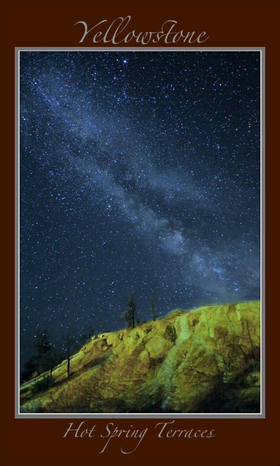 "The Milky Way Galaxy over the Lower Terraces of Mammoth Hot Springs in Yellowstone National Park<br /> <br /> Any image may be ordered with a custom border and custom caption of your own choosing<br /> along with a printed 'Robert Howell' signature.<br /> <br /> This unique image is fused directly onto a specially treated, rigid piece of Aluminum.<br /> More archival and lighter than a framed paper print, it arrives ready to hang.<br /> The Float-Mounted MetalPrint™ needs no frame and<br /> will appear to float 3/4"" from your wall.<br /> <br /> Archival paper prints are also available<br /> ------- Contact us for more information -------<br /> moreinfo@RobertHowellPhotography.com"
