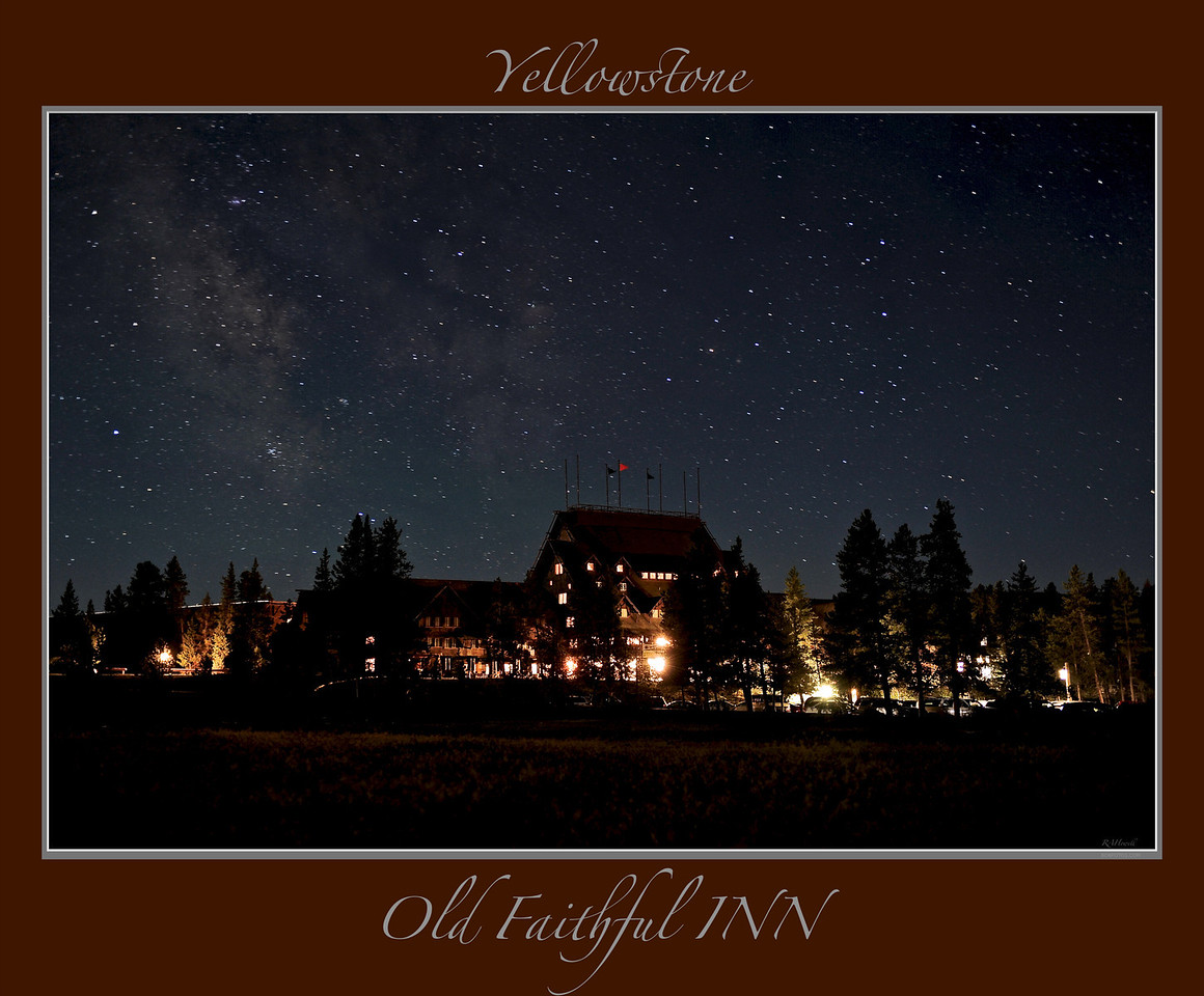 "Stars over the Lower Terraces ____ 4762Lhb<br /> Milky Way and Stars over the Old Faithful Inn of Yellowstone National Park<br /> <br /> Any image may be ordered with a custom border and custom caption of your own choosing<br /> along with a printed 'Robert Howell' signature.<br /> <br /> This unique image is fused directly onto a specially treated, rigid piece of Aluminum.<br /> More archival and lighter than a framed paper print, it arrives ready to hang.<br /> The Float-Mounted MetalPrint™ needs no frame and<br /> will appear to float 3/4"" from your wall.<br /> <br /> Archival paper prints are also available<br /> ------- Contact us for more information -------<br /> moreinfo@RobertHowellPhotography.com"