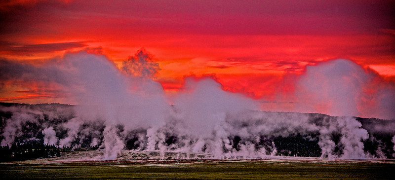 "Thermal Sunrise "" Colter's Hell ""   __5341M<br /> <br /> A beautiful panorama image when printed at 12""x24"" on Metal<br /> <br /> <br /> 'Mountain man' John Colter explored parts of Yellowstone in 1807<br /> and told incredible stories of steaming geysers and bubbling hot springs.<br /> Some even nicknamed the area ""Colter's Hell.""<br /> <br /> Images, made on the 1871 Hayden expedition, by William Jackson, a pioneering photographer, and Thomas Moran, a landscape painter provided the first visual proof of Yellowstone's wonders…<br /> <br /> ."