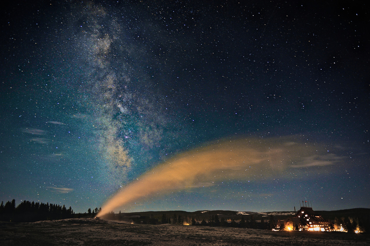 """ Old Friends ""     ____ 4808Lh<br /> <br /> Milky Way & Old Faithful above their old friend, the Inn.<br /> <br /> The Milky Way is about 13.7 billion years old<br /> Old Faithful started erupting in the 1700's<br /> Old Faithful Inn moved into the neighborhood in 1904<br /> <br /> This unique image is fused directly onto a specially treated, rigid piece of Aluminum.<br /> More archival and lighter than a framed paper print, it arrives ready to hang.<br /> The Float-Mounted MetalPrint™ needs no frame and<br /> will appear to float 3/4"" from your wall.<br /> <br /> Archival paper prints are also available<br /> ------- Contact us for more information -------<br /> moreinfo@RobertHowellPhotography.com"
