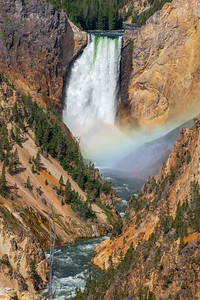 Lower Yellowstone River Falls with rainbow
