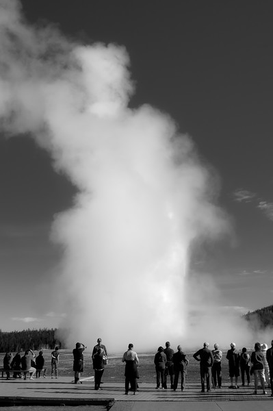 We were lucky to walk up right as Old Faithful did its thing. Unfortunately the wind was not favorable to expose the actual geyser, but I still like these two.