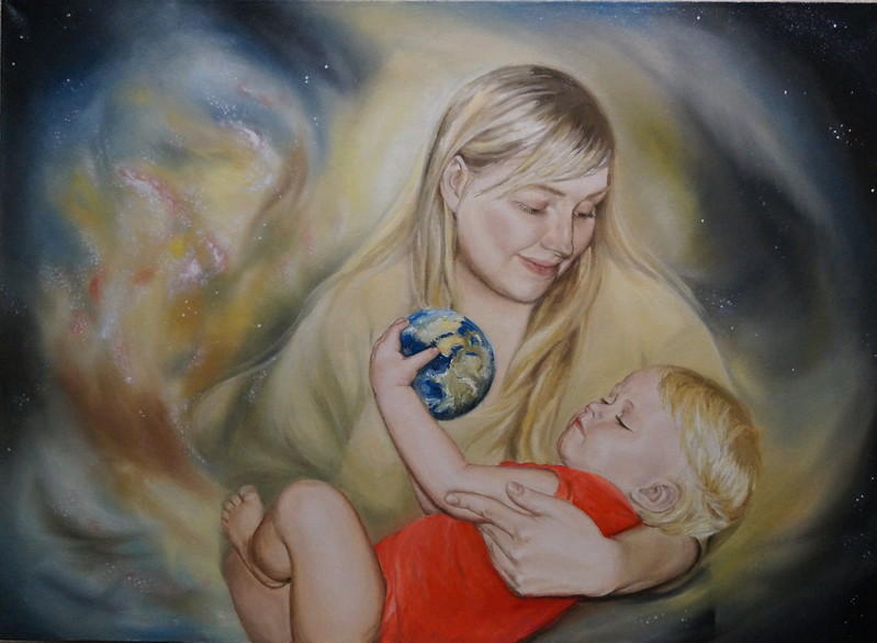 """In the Embrace of the Universe"" (oil on canvas) by Evgeniya Zavialova"