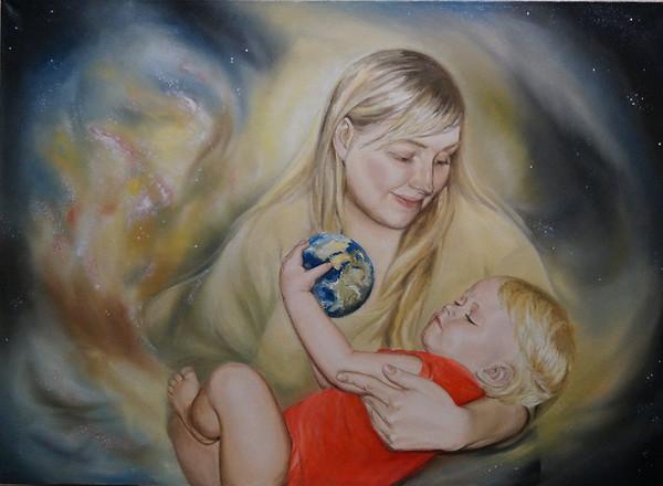 """In the Embrace of the Universe"" (oil on canvas) by Evgeniya Zavialova"
