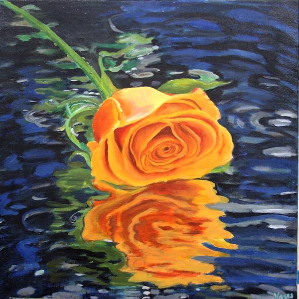 """Yellow Rose"" (acrylic) by Vasundhara Tolia"