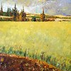 """Field in Jennosar"" (oil on canvas) by Talia Stegniy"