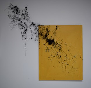 """""""Yellow Horde"""" (thread, hair, and acrylic on canvas) by Jenny Lam"""