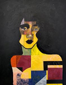 """Black Hair Girl"" (acrylic, pencil, collage) by QiuChen Fan"