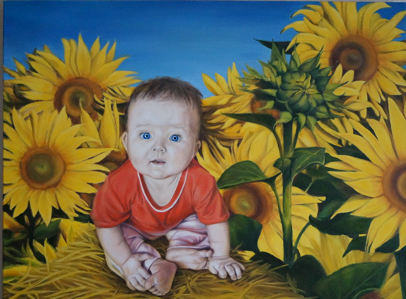 """Sunny child in sunflowers"" (oil on canvas) by Evgeniya Zavialova"