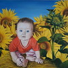 """Sunny child in sunflowers"" (oil on canvas) by Evgeniya Zavialova"