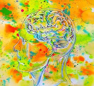"""The Creative Mind"" (mixed media- watercolor, acrylic, pen) by Cynthia Castillo"
