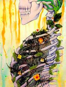 """""""Overgrown"""" (mixed media-pastel, watercolor, fabric) by Cynthia Castillo"""